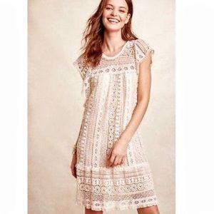 Maeve Anthro Crochet Cap Sleeve Cream Midi Dress